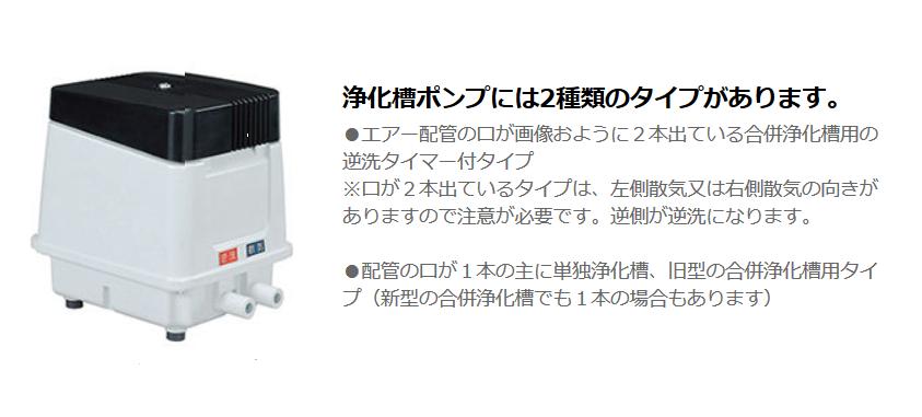 浄化槽ポンプには、2種類のタイプがあります。